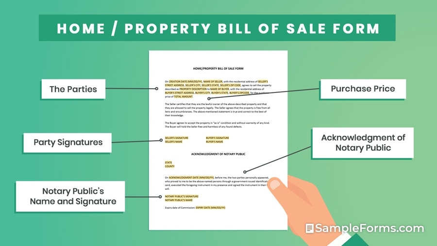 HOME PROPERTY BILL OF SALE FORM