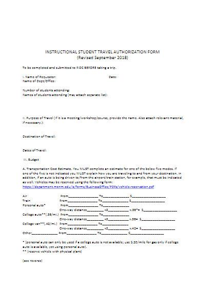 instructional student travel authorization form