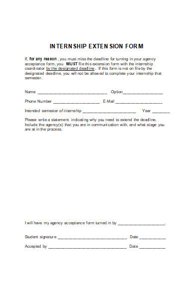 internship extension form