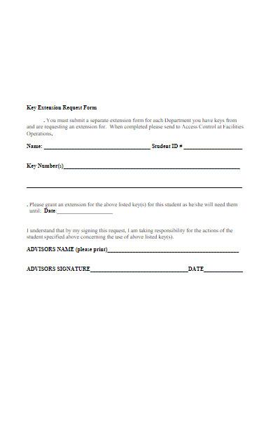 key extension request form
