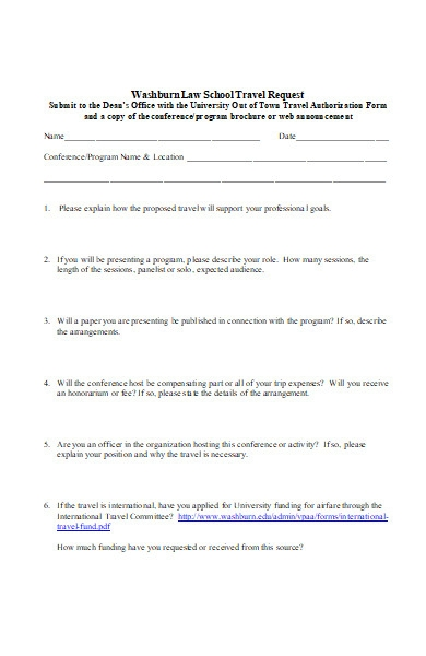 law school travel authorization request form