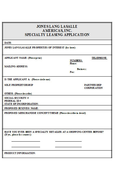 leasing tenant application form