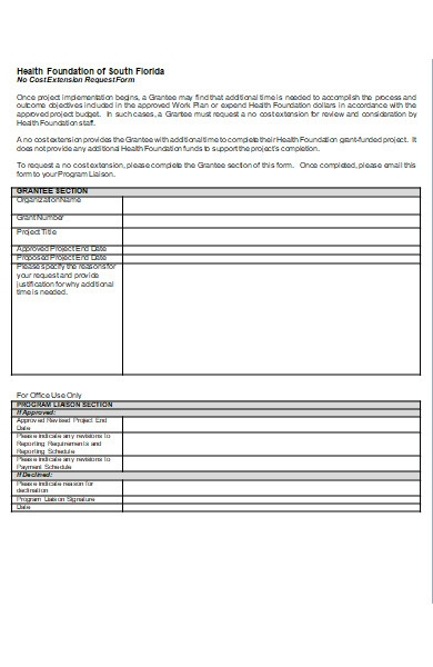 no cost extension request form