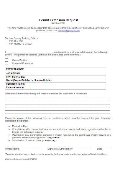 permit extension request form