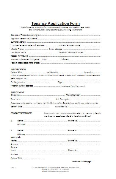 pre tenancy application form example