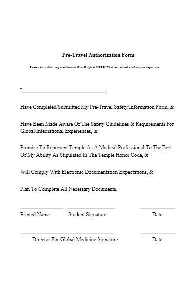 pre travel authorization form sample