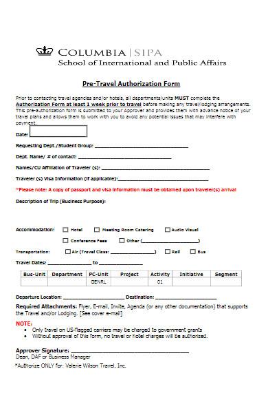 pre travel authorization form
