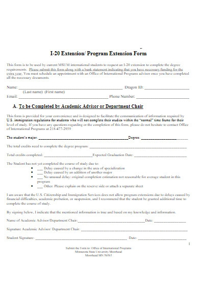 program extension letter form