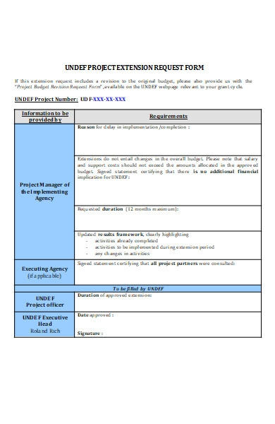 project extension request form