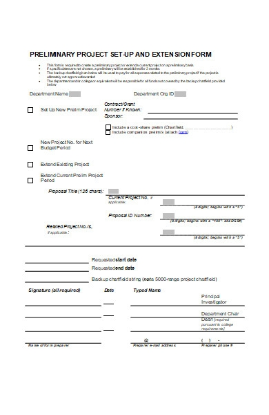project set up extension form