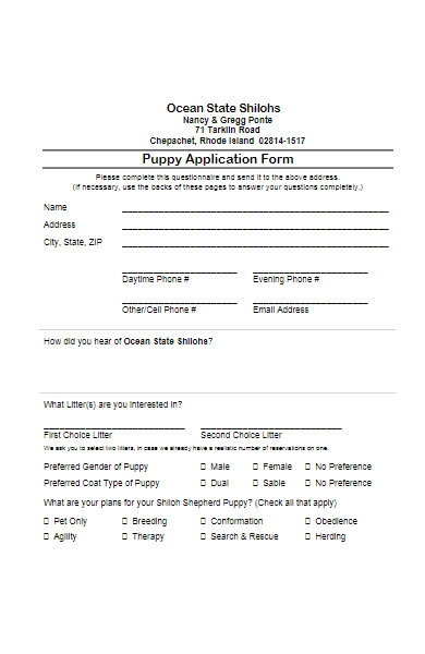 puppy application form example