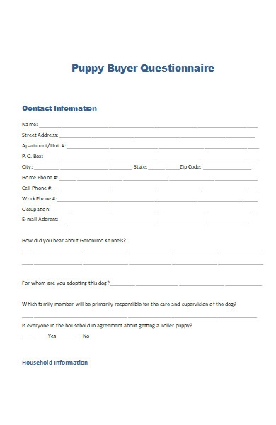 puppy buyer questionnaire form