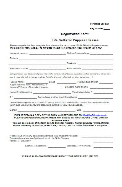 puppy classes registration form