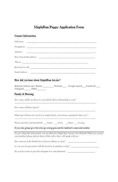 puppy contact application form