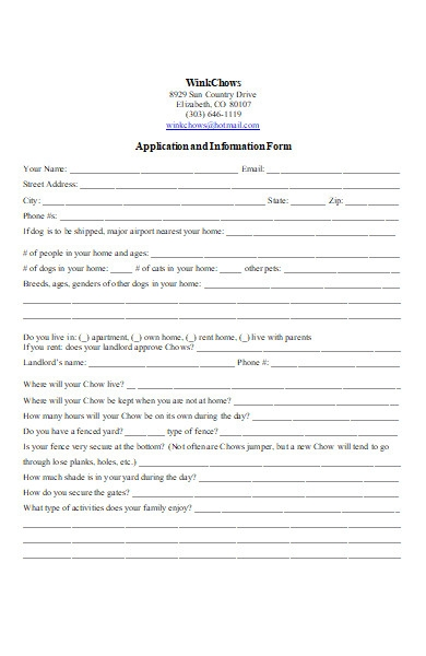 puppy information application form