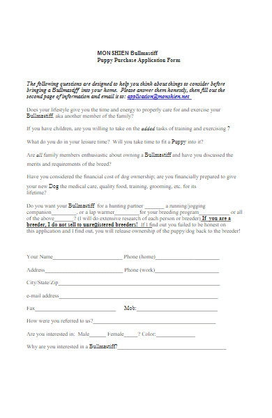 puppy purchase application form in pdf