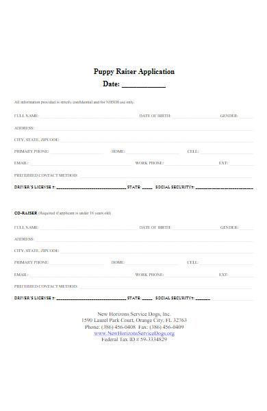 puppy raiser application form