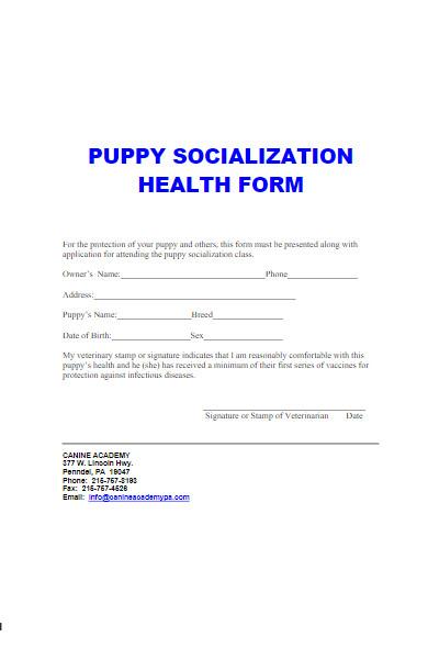 puppy socialization health form