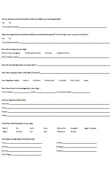 puppy training registration form