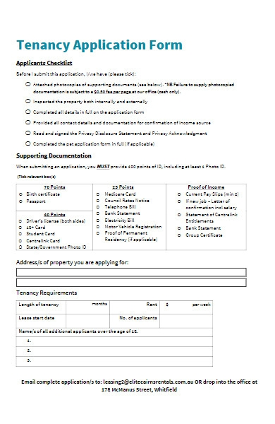 real estate services tenancy application form