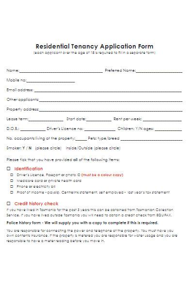 real estate tenancy application form
