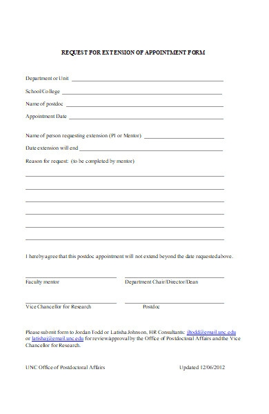 request for extension of appointment form