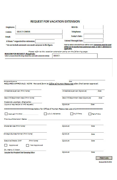 request for vacation extension form