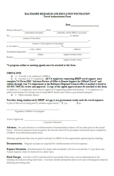 research foundation travel authorization form