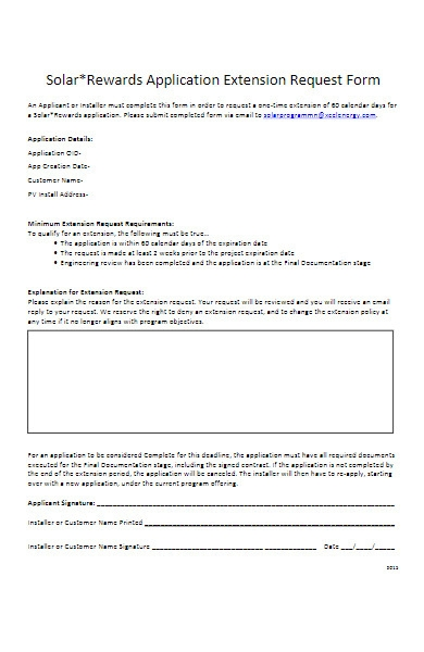 rewards application extension request form