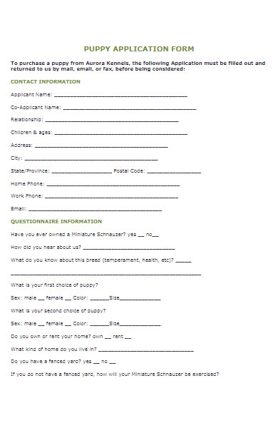 sample puppy application form