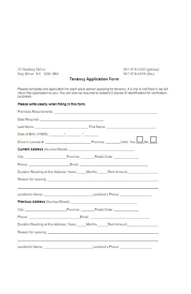 sample tenancy application form