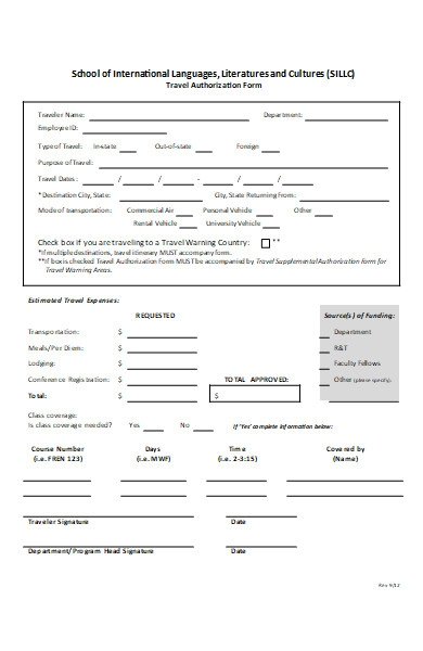 school travel authorization request form