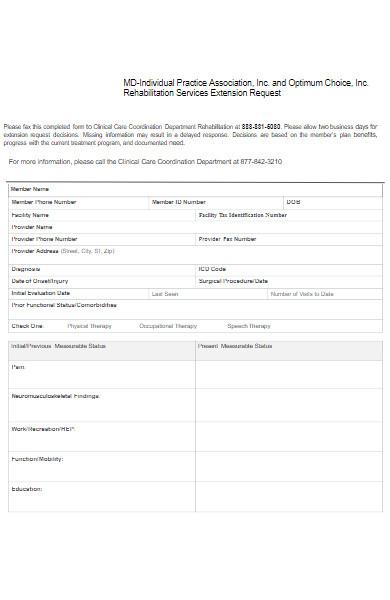 services extension request form