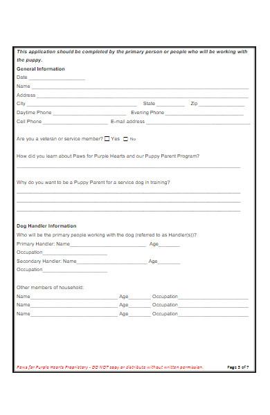 simple puppy parent application form