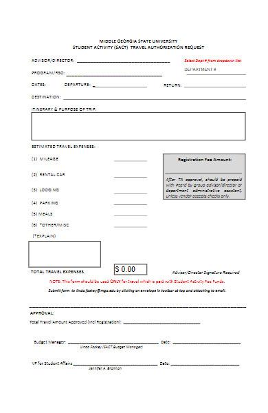 student activity travel authorization request form