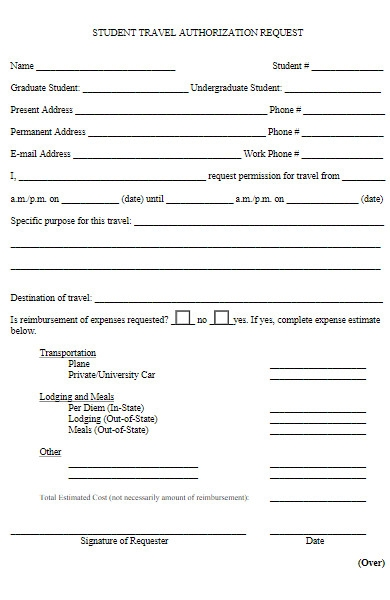 student travel authorization request form
