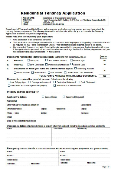 tenancy application form for residential