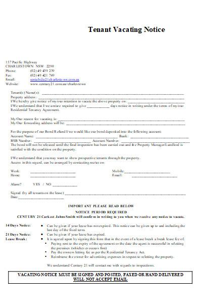tenant vacating notice application form