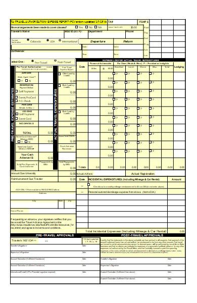 travel authorization expense report form