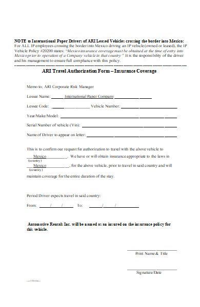 travel authorization form insurance coverage