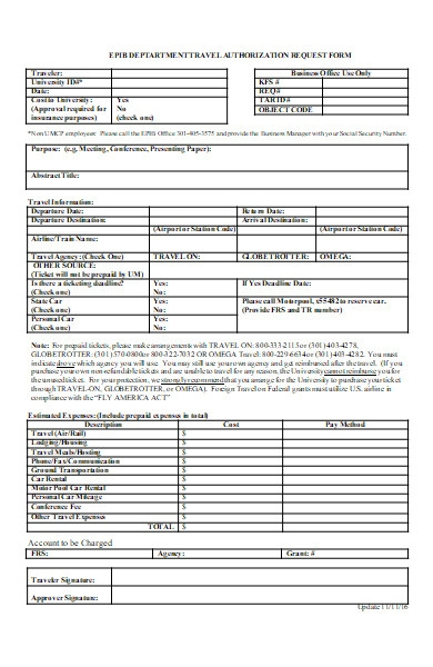 travel authorization request form to department
