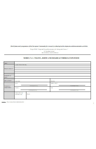 travel board authorization form