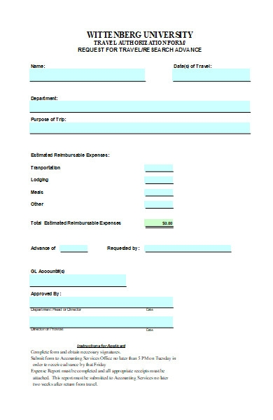 travel research authorization form