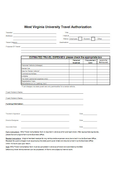 university travel authorization form example