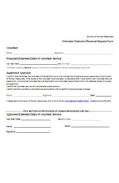 volunteer extension form