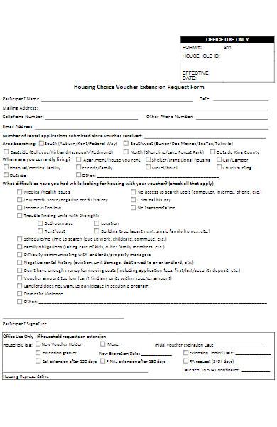 voucher extension request form